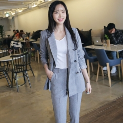 Double Breasted Striped Blazer Jacket & Zipper Pant Work Pants Suits 2 Piece Sets Office Lady Suits grey s