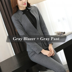 Formal Ladies Office OL Uniform Designs Women elegant Business Work Wear Jacket with Trousers Sets grey s