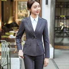 2 Pieces Set Pant Suits Office Lady Formal Business Uniform Designs Style Female Women Work Wear grey s
