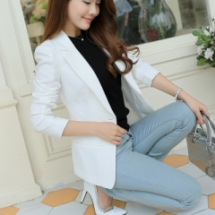 2018 Women Jackets Long Sleeves Office Lady Single Button Women Suit Jacket Female Feminine Blazer white s
