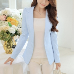 2018 Women Jackets Long Sleeves Office Lady Single Button Women Suit Jacket Female Feminine Blazer sky blue s