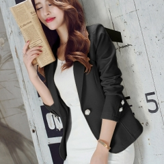 2018 Women Jackets Long Sleeves Office Lady Single Button Women Suit Jacket Female Feminine Blazer black s