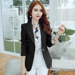 2018 Women Jackets Long Sleeves Office Lady Single Button Women Suit Jacket Female Feminine Blazer black s