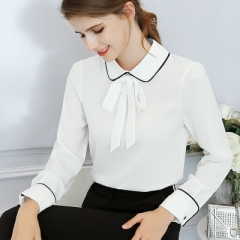 2018 Long Sleeve Turn-down Collar Formal Elegant Ladies Female Shirt Ladies tops school blouse white s