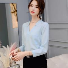 2018 Long Sleeve Turn-down Collar Formal Elegant Ladies Female Shirt Ladies tops school blouse sky blue s