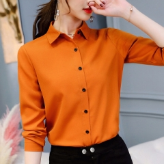 2018 New Office Lady Spring Summer Long Sleeved Solid Shirt Plus Size Blouses Ol Style Shirts Blusas orange s