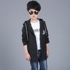 Jacket Boy Spring Children's Clothing Spring Boy Jacket Children's Windbreaker The Long Section black 120cm