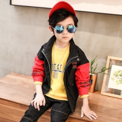 Spring Baby  Boys Casual Coats Kids Jacket Children Zipper long Sleeve Outerwear Clothing Teenager red 110cm