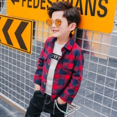Kids Boy Tops Shirts Turn-down Collar Comfortable Cotton Striped Color Long Sleeve Child Boy Shirt red 120cm