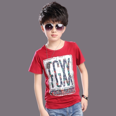 Children T shirts Baby Boys Summer Tops Tee Shirts Letter Print Kids O-neck T-shirts Boy Clothing red 120cm cotton