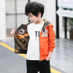2018 Kids Coats and Jackets Autumn Brand Children Coats Girls Clothes Cartoon Print Outerwear Hooded orange 110cm