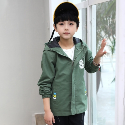 cc6749ffa Kids Jacket Boys Clothes Teenage Boys Jackets and Coats Children Outerwear  Handsome Hooded green 120cm