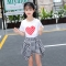 Cute Princess Girls 2 Piece Set Boutique Outfit Sets Short T-shirt + Plaid Skirts Clothes For Girl white 110cm