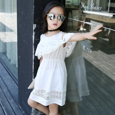 2018 Baby Kid Cotton Princess Girl Dress Lace Edge Dress Children Clothing Cute Party Vestidos White 140cm