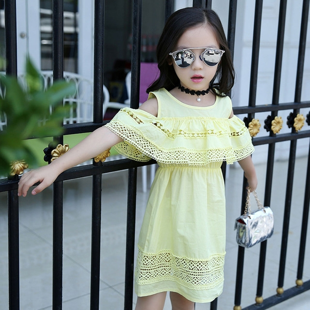2018 Baby Kid Cotton Princess Girl Dress Lace Edge Dress Children Clothing Cute Party Vestidos Yellow 160cm