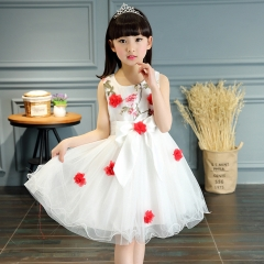 Flower Girls Dress Style Toddlers Teen Children Princess Clothing Party Clothes Sleeveless Dresses red 110cm