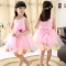 2018 Pink Red Flower Girls Dresses Bowknot Princess Dress For Birthday Party Baby Girl Summer Dress pink 140cm
