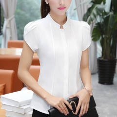 women shirts OL office puff short sleeve chiffon blouses ladies formal work wear clothes slim tops white s