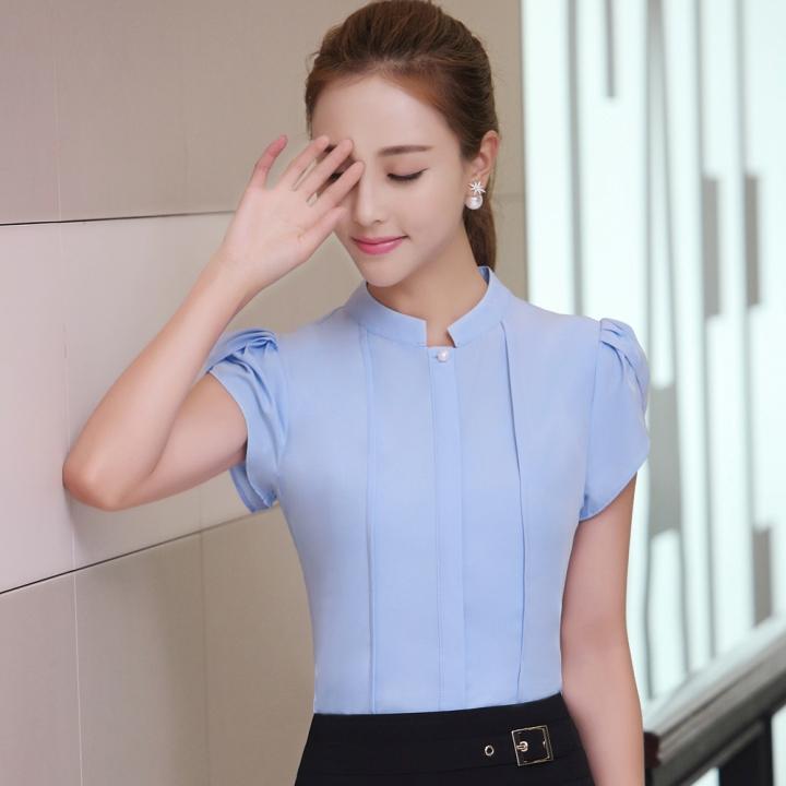 ddc73f44894a0 women shirts OL office puff short sleeve chiffon blouses ladies formal work  wear clothes slim tops
