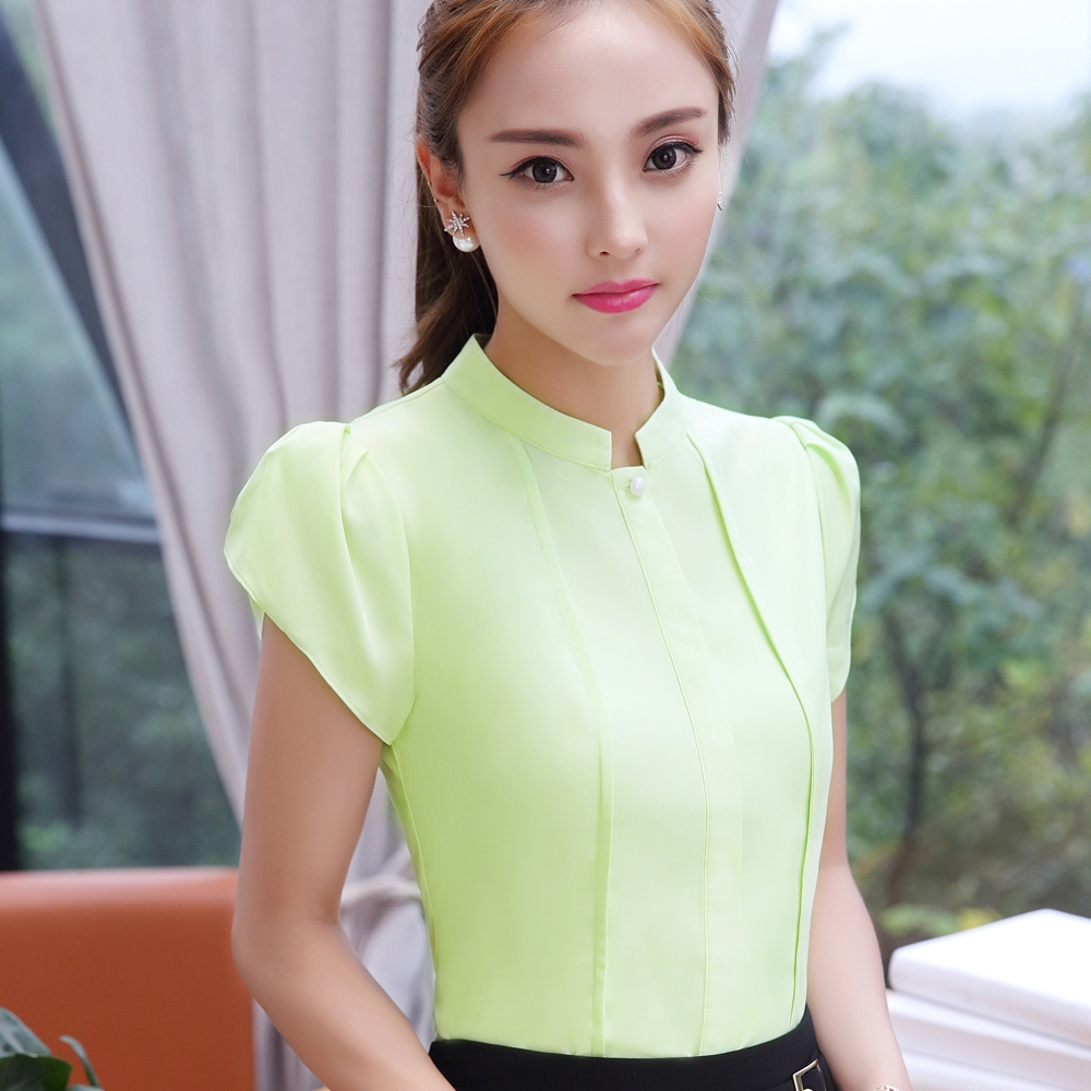 a66866c4177a3 women shirts OL office puff short sleeve chiffon blouses ladies formal work  wear clothes slim tops green m  Product No  1524894. Item specifics  Brand