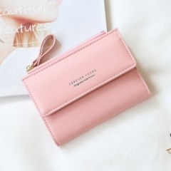 Wallet Fashion Lady Portable Multifunction Short Solid Color Change Purse Hot Female Clutch Carteras pink one size