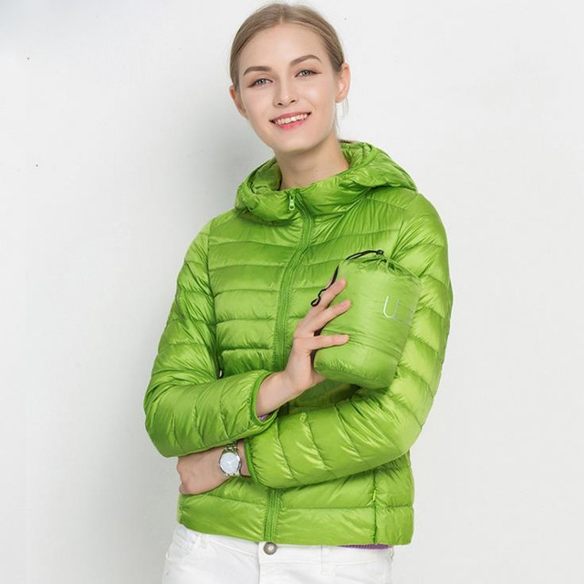 cd6047fd8 Winter Women Ultra Light Down Jacket 90% Duck Down Hooded Jackets Long  Sleeve Warm Slim Coat Parka green 3xl
