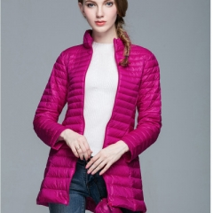 Woman 90% White Duck Down Long Jacket Female Overcoat Ultra Light Slim Solid Jackets Winter Coat rose red s