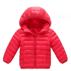 2018 Winter Boys Girls Thin Down Cotton Coat Baby Kids Down Jacket Children 2-13Y Outwear Clothes red 90cm