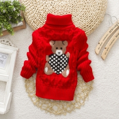 Boys Girls Turtleneck with Beard Label Solid Kids Sweaters Soft Warm Winter Children's Sweater red 14