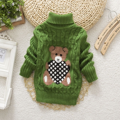 d435db1a6af Boys Girls Turtleneck with Beard Label Solid Kids Sweaters Soft Warm Winter  Children s Sweater green 14
