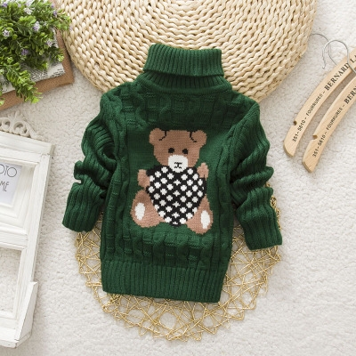 615643389a5f Boys Girls Turtleneck with Beard Label Solid Kids Sweaters Soft Warm ...