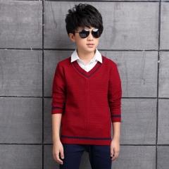 2018 Boys V-neck Overpull Sweater Autumn Children Knitwear Boys Wool Striped Sweater Kids Outerwear wine red 120cm