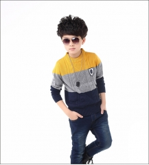 2018 Boys Sweater Spring Children Knitwear 3 Color Patterns Boys Jacquard Cashmere Sweater Outerwear yellow 110cm