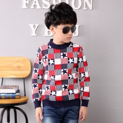2018 Boys Sweater Fasion Autumn Winter Children Knitwear Patterns Boys Wool Sweater Kids Outerwear red 110cm