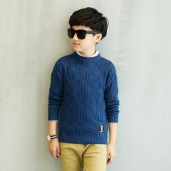 2018 Boys Sweater Fasion Autumn Winter Children Knitwear Patterns Boys Wool Sweater Kids Outerwear dark blue 120cm