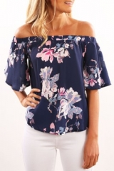 2018 Hot  Fashion blouse shirt women Short sleeve elastic casual female blouse Chic floral blouse dark blue s