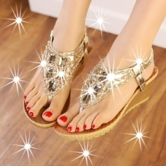 2017 Women's fashion shoes vintage shoe crystal wedge sandals 6 cm high heels platform sandals gold 35