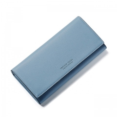Soft Leather Long Women Wallet Change Hasp Clasp Purse Clutch Money Phone Card Holder Female Wallets blue one size