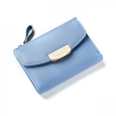 Short Women Wallets ID Card Holder Small Wallet Zipper Coin Pocket Purses Ladies Leather Purse blue one size