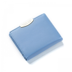 Women Wallet and Purses Solid Simple Ladies Short Wallets Lady Girls Coin Purses Credit Card Bag blue one size
