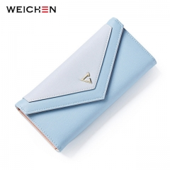 Geometric Envelope Clutch Wallet For Women PU Leather Hasp Wallet For Phone Money Bags Coin Purse blue one size