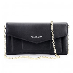 Envelope Designer Mini Women Crossbody Bag Ladies Chain Shoulder Messenger Bags Long Clutch Wallets black one size