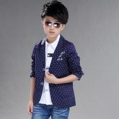 2018 Hot Children's Suit jacket Fashion Pupil Autumn Wear Leisure big Boys Clothes blazer 2-14 years dark blue 110cm