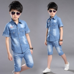 Summer Boys Clothing Set 2pcs Cowboy Shirt +Denim Shorts Kids Clothes Set Turn-down Collar Boys Suit blue 140cm
