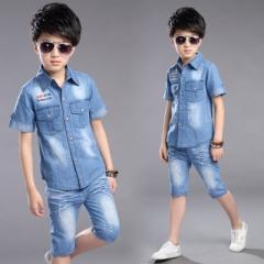 Summer Boys Clothing Set 2pcs Cowboy Shirt +Denim Shorts Kids Clothes Set Turn-down Collar Boys Suit blue 140cm