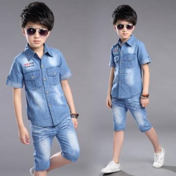 b3a5f95f1 Summer Boys Clothing Set 2pcs Cowboy Shirt +Denim Shorts Kids Clothes Set  Turn-down