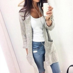 Fashion Women Long Sleeve loose knitting cardigan sweater Womens Knitted Female Cardigan pull femme grey m