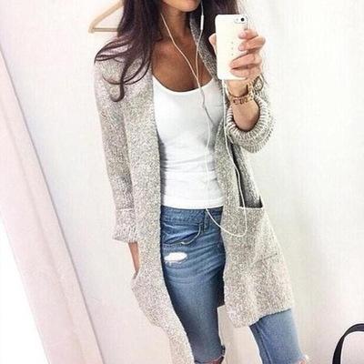 Fashion Women Long Sleeve loose knitting cardigan sweater Womens Knitted Female Cardigan pull femme grey m