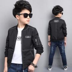 children's clothing boy coat spring children's jacket large children's men's young cardigan tide black 120cm