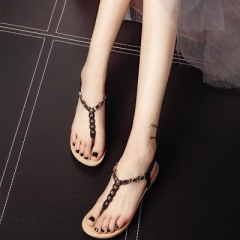 2018 Summer Sandals Women Aged Leather Flat Shoes Casual Occasions Comfortable The Female Sandals black 36